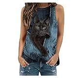 Camiseta 3D Gato Lindo,Camiseta Manga Corta Mujer con Estampado de Gato y Cuello Redondo para Mujers Camisetas sin Mangas,T Shirt Camisas Mujer Impreso Casual Ropa de Verano de Moda
