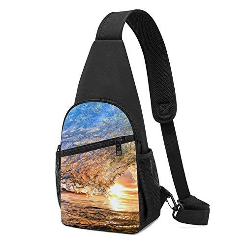 HUBGFEQ Sling Bag Best Ocean Wave Printed Shoulder Backpack Crossbody Purse Travel Hiking Chest Bag Daypack