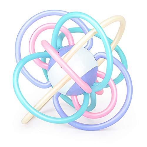 MXECO Kids Manhattan Ball Candy hochets Développer Intelligence Saisir Jouet Molaire Dents en Plastique Cloche À Main pour Nouveau-Né (Macaron)