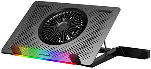 Haohaojia Laptop and Notebook Cooling Pad,Laptop Cooling Stand in Aluminium with RGB backlighting Gaming Laptop and Notebook Cooling Pad For Desk USB Powered Fan (Color : Silver)