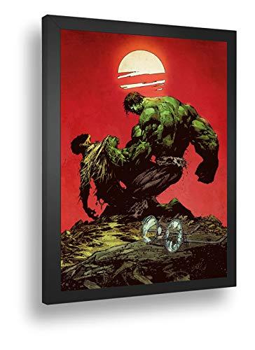 Quadro Decorativo Poste Hulk Contra O Mundo Marvel