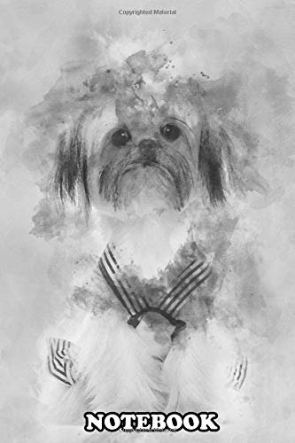 Notebook: Shih Tzu Sitting Against White Background , Journal for Writing, College Ruled Size 6