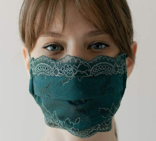 CHANTY Maske aus Spitze - Waschbar - 2-Lagig - Lace Mask Winded Leaves Emerald - One Size - Made in Germany
