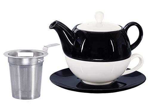 Buchensee Tea for One mit Sieb Lena 500ml aus Crystal Bone China Porzellan in schwarz-weiß....