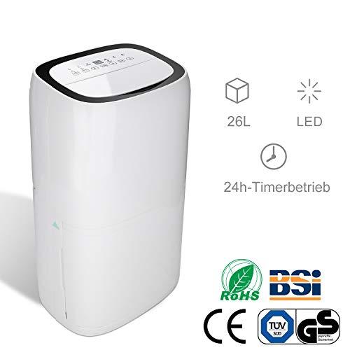 Hengda Luftentfeuchter bis zu 26L/Tag tragbarer Raumentfeuchter mit 5.5L Großer Wassertank Entfeuchtungsbereich bis zu 100 m²