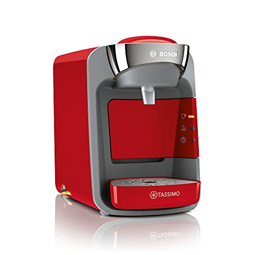 Bosch Tassimo Suny Kapselmaschine TAS3208, große Getränkevielfalt, Smart Start, 1300 Watt, rot/anthrazit