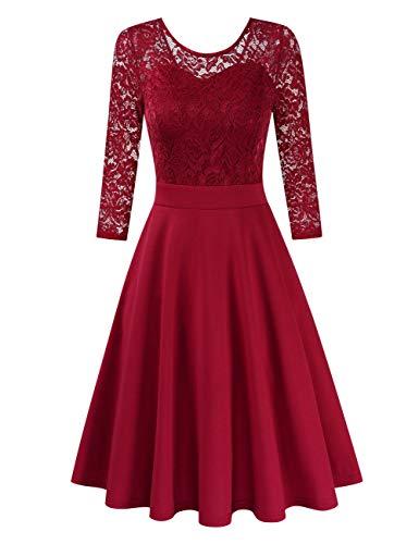 Clearlove Damen Kleider Elegant Spitzenkleid 3/4 Ärmel Cocktailkleid Rundhals Knielang Rockabilly Kleid(Verpackung MEHRWEG), Weinrot-3/4 Ärmel, S