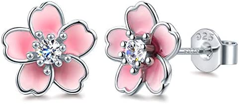 925 Sterling Silver Stud Earrings Cute Flower Ear Studs for Women White Black Rose Gold Plated product image