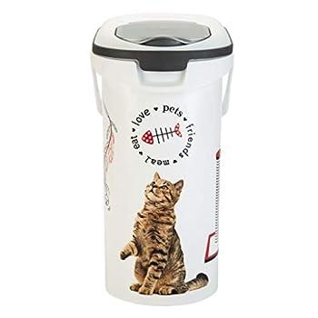 CURVER   Verseuse à croquettes 10L/4Kg love pets Chat, Blanc, 19,2 x 29,5 x 34,8 cm, Plastique