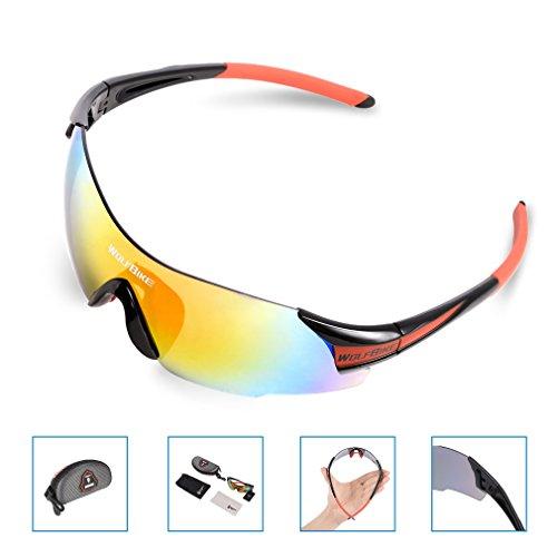 Gafas de sol para deportes al aire libre OUTAD, gafas de montar, apto para todos los deportes, unisex, protección contra el viento y los rayos UV (Negro& Rojo)