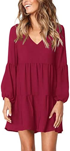 Amoretu Women s Long Sleeve Casual V Neck Loose Swing Tunic Dress Burgundy S product image