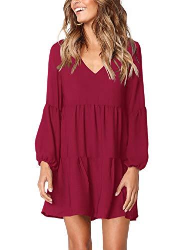 Amoretu Women Long Sleeve Casual V Neck Loose Swing Tunic Shift Dress Burgundy M