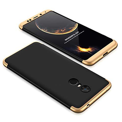 MRSTER Xiaomi Mi Mix 2 Hülle 360 Full Body Schutz Schutzhülle Anti-Kratzer Stoßfest Ultra Dünn Hart PC Bumper Handyhülle Kompatibel mit Xiaomi Mi Mix 2. 3 in 1- Gold + Black