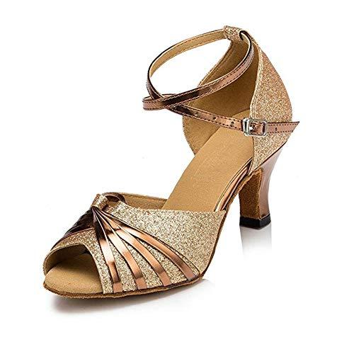 Women's Sparkling Glitter Heels Latin Dance Shoes Open Toe Ballroom Salsa Tango Party Dress Dance Shoes,2.9', Gold, 7.5
