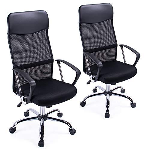 Sedia da ufficio con schienale alto a rete curvata per ufficio Sedia da scrivania girevole regolabile in altezza (2 confezioni)