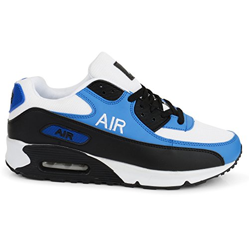 Mens Air Shock Absorbing Running Trainers Jogging Gym Fitness Trainer New Shoes Sizes 7-11 UK (10 UK, White/Blue)