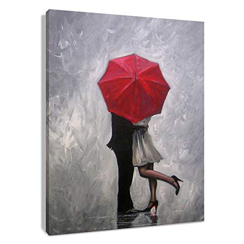 HVEST Lovers Canvas Wall Art Couple Kissing in Rain with Red Umbrella Artwork Romantic Painting for Living Room Bedroom Bathroom Wall Decor,Stretched and Framed Ready to Hang,12x16 inches