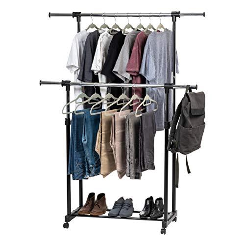 IRIS USA AGRE-2 Garment Rack with Wheels Double-Rod Black