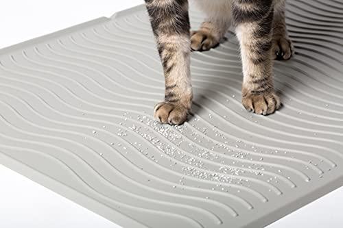 PetFusion ToughGrip Large Cat Litter Mat - FDA Grade Silicone. [100% IMPERMEABILIZANTE Y Anti MICROBIANO; FÁCIL Limpieza DE LA Superficie, NO MÁS Moles ATRAPADOS