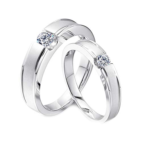 Daesar 18K White Gold Rings Eternity Couple Ring Gold Matte Round with 0.3ct Diamond Rings for Women and Men White Gold Ring Women Size L 1/2 & Men Size T 1/2