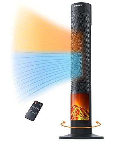 KUPPET Radiateur électrique Portatif Chauffage Soufflant Avec Effet de Flamme,3 réglages de chaleur: FAN LOW HIGH, version numérique
