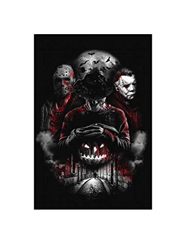 Uglyshirt89 Nightmare Gang Premium Leinwand | Freddy Michael Myers Jason Voorhees Horror Halloween Keilrahmen Bild Gemälde Wandbild (Schwarz, 45 x 30 cm)