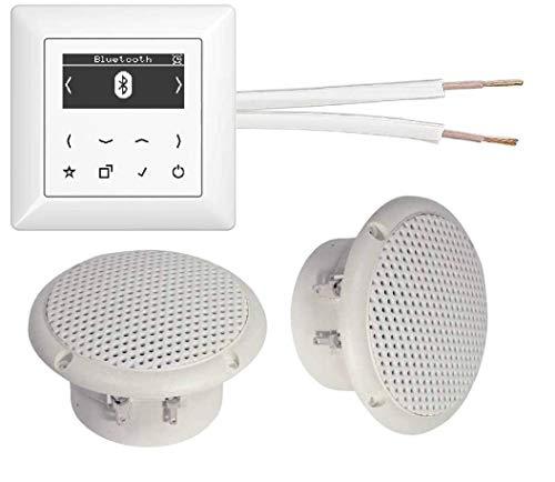 JUNG DAB+ Digitalradio UND Bluetooth - Unterputzradio (Radio) DABABTWW alpinweiß glänzend Komplett-Set + 2 x Deckenlautsprecher weiß (Feuchtraum/Badezimmer) + 20 m Lautsprecherkabel