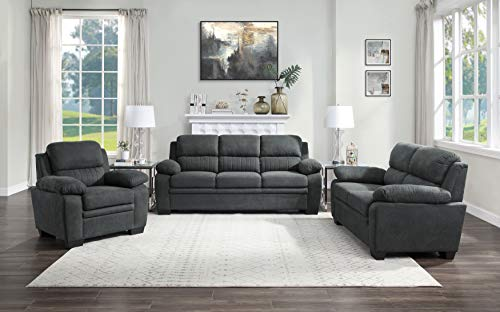 Lexicon Vega 3 Piece Living Room Set, Dark Gray