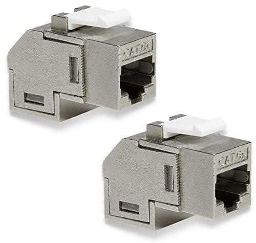 odedo Keystone CAT 6A RJ45 - Conector de red acodado (2 unidades, 2 conectores RJ45)