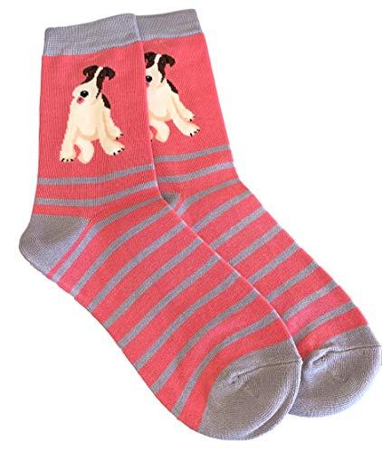 Lila Possum® rosa Socken Fox Terrier H& Damen grau gestreift weiche Bambus Baumwollmischung H&e Socke Geschenkidee