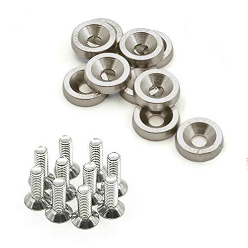 10 unidades M6 x 20 pernos de acero para modificar el guardabarros universal placa de matrícula con 10 arandelas anodizadas #734, gris