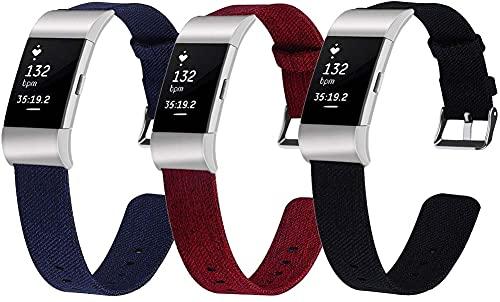 Gransho Correa de Reloj Compatible con Fitbit Charge 2, Lienzo Correa Relojes Militar del ejército - Correa Reloj con Hebilla de Acero Inoxidable (3-Pack I)