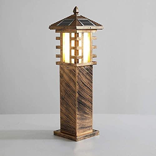 Lámpara de Pilar de Poste de luz Solar para césped al Aire Libre Impermeable Tradicional Luz de Calle Linterna de Columna Creativa Iluminación Exterior del Paisaje para jardín de césped Villa