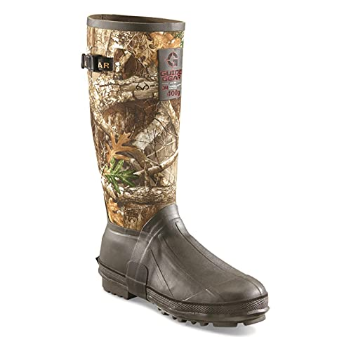 """Guide Gear Men's 15"""" Insulated Rubber Boots, 400-grams, Realtree Edge, 9D (Medium)"""