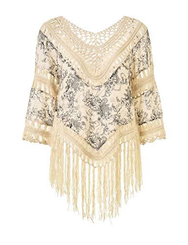 Ferand Damen Poncho Bluse Tunika Top mit V-Ausschnitt, Langen Quasten und Blumenaufdrucken, Einheitsgröße, Stil 3: Weiß & Beige, Einheitsgröße, Stil 3: Weiß & Beige