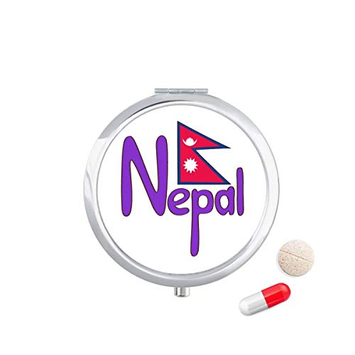 DIYthinker Nepal Nationale Vlag Rood Paars Patroon Reizen Pocket Pill Case Medicine Drug Opbergdoos Dispenser Spiegel Gift