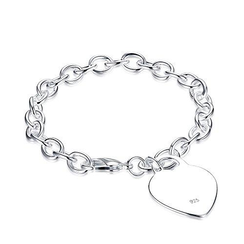 fashionbeautybuy Unisex moda braccialetto a forma di cuore Hollow Out braccialetto placcato argento Corpo catena gioielli Wristband