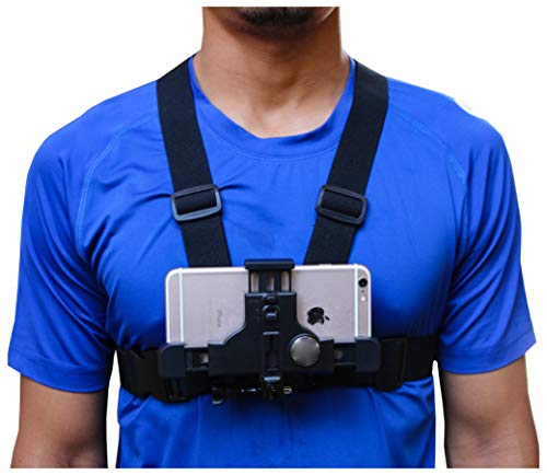 Smartphone Chest Mount - Universal Cell Phone Harness Strap Holder Action Camera POV Compatible with iPhone and Samsung - Cell Phone Chest Holder Mount for Recording Device Video or Filming