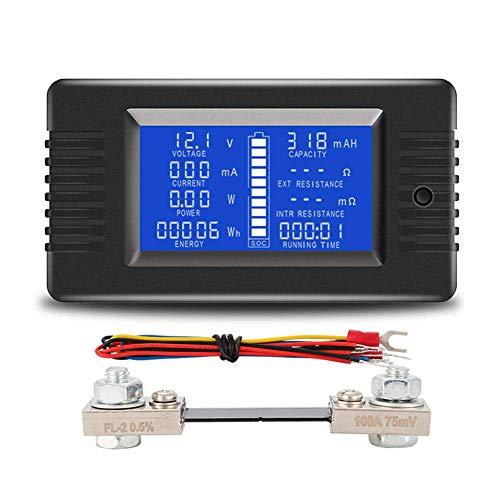 DollaTek LCD Display DC Battery Monitor Meter 0-200V Voltímetro Amperímetro para automóviles Sistema Solar RV