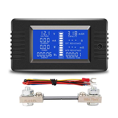 WINGONEER LCD Display DC Battery Monitor Meter 0200V Voltmeter Ammeter for Cars RV Solar System