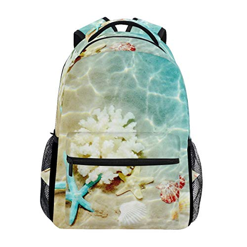 Casual Backpack Starfish Coral and Seashell On The Summer Beach Stylish Shoulder Laptop School College Backpack Bag Bookbags