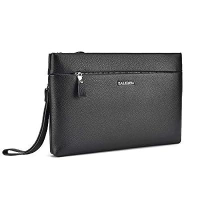 BALIDIYA Men Clutch Purse Leather Bags Wristlet Handbag Business Zipper Wallets (black-1)