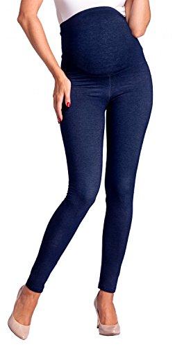 Zeta Ville - Premamá Leggings Efecto Mezclilla Banda para Barriga - Mujer - 948c (Jeans Azul Marino, EU 40/42, 2XL)