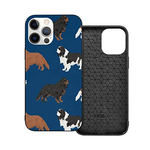 Funda de protección compatible con iPhone 12 / iPhone 12 Pro Cavalier King Charles Spaniel azul marino lindo perro perro mascota perro teléfono funda funda suave silicona TPU