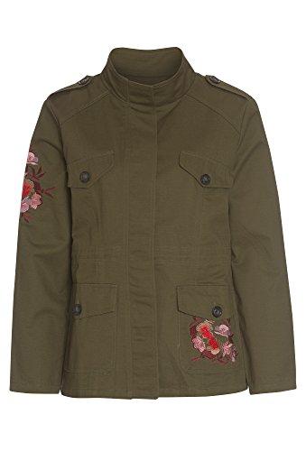HAILYS Jacke mit Stickereien - Damen Parka Frauen Patches navy Langarm Blouson Herbst oliv,S
