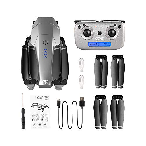 HSKB SG907 GPS Drohne mit 4K HD Dual Kamera 120° Weitwinkel Anti-Shake GPS 5G WiFi FPV RC Quadrocopter Faltbare Drohnen Professionelle Follow Me mit 7,4 V 1600 mAh Batterie (mit Handtasche)