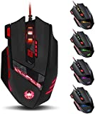 Zelotes 9200 DPI Gaming Mouse,8-piece Weight Tuning Set,8 Buttons Multi-Modes LED lights Wired Mouse Mice for PC,Laptop,Gamer