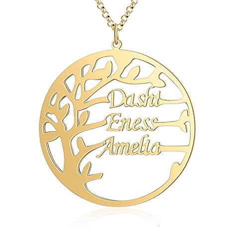 Collar familiar de acero inoxidable árbol colgantecollar joyas para mujeres regalo de la madre