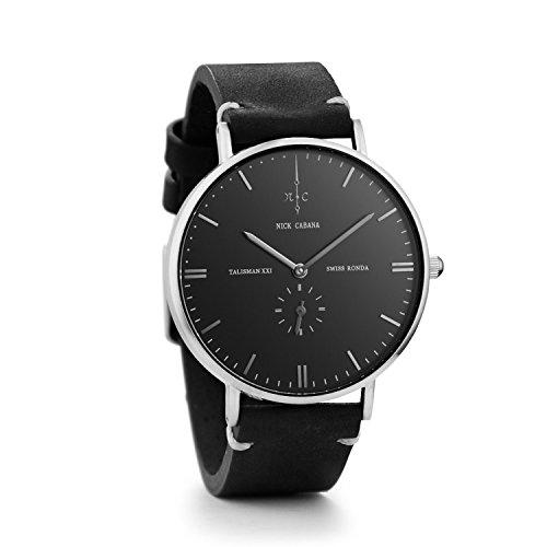 Nick Cabana Talisman No 8 Armbanduhr Herrenuhr Uhr Watch Silber Schwarz Lederarmband