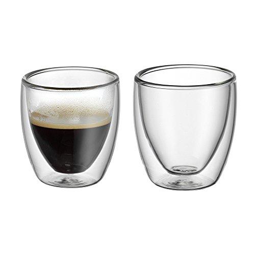 WMF Kult doppelwandige Espressogläser-Set, 2-teilig, H 6,5 cm, V 80 ml, Thermoglas, hitzebeständig, spülmaschinengeeignet
